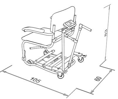 Waga krzesełkowa WE150P3 K (4 kółka) wymiary