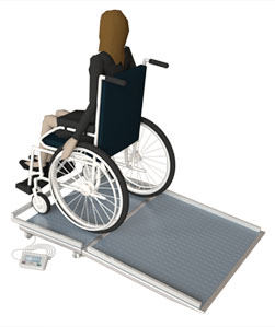 Waga specjalna do ważenia pacjentów na wózkach inwalidzkich WM150P1 50X90Z wymiaryWaga specjalna do ważenia pacjentów na wózkach inwalidzkich WM150P1 50X90Z